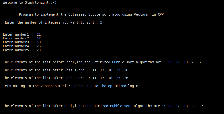 C++ optimized bubble sort 2