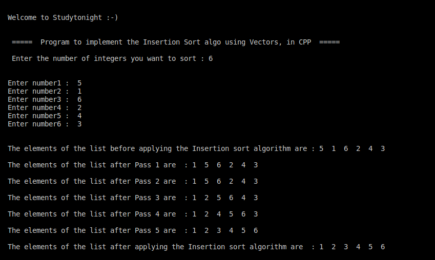 C++ Insertion sort