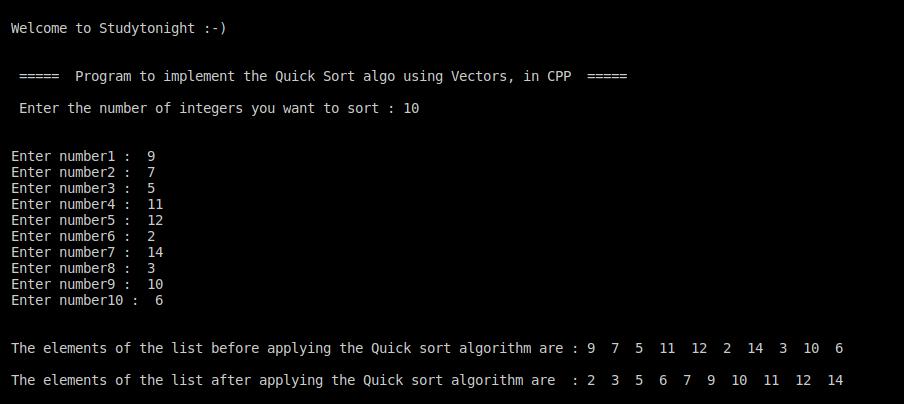 C++ quick sort