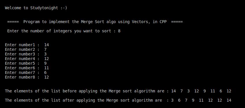 C++ Merge sort