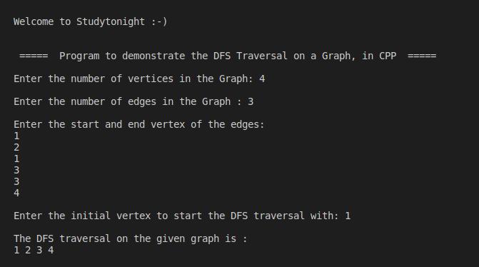 C++ DFS Traversal