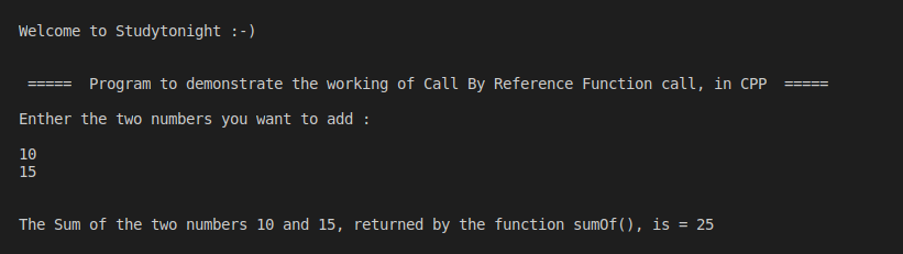 C++ Call By Reference