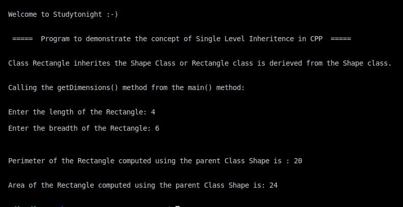 C++ single level inheritence