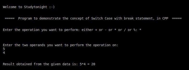 C++ switch case with break