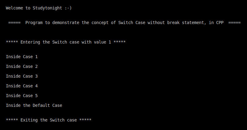 C++ switch without break
