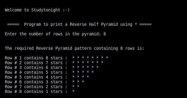 C++ reverse half pyramid using *