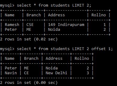 python mysql limit clause in SQL query