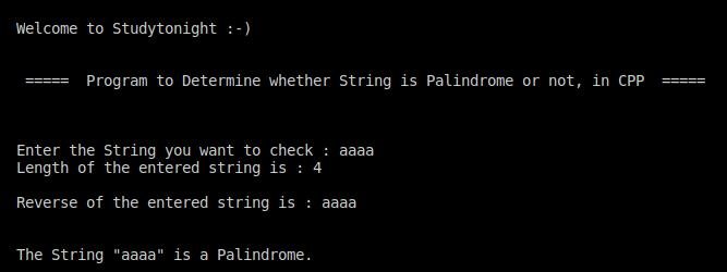 C++ string palindrome