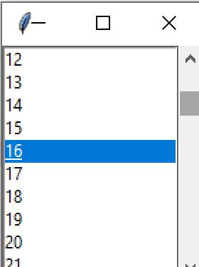 Tkinter scrollbar wdget example