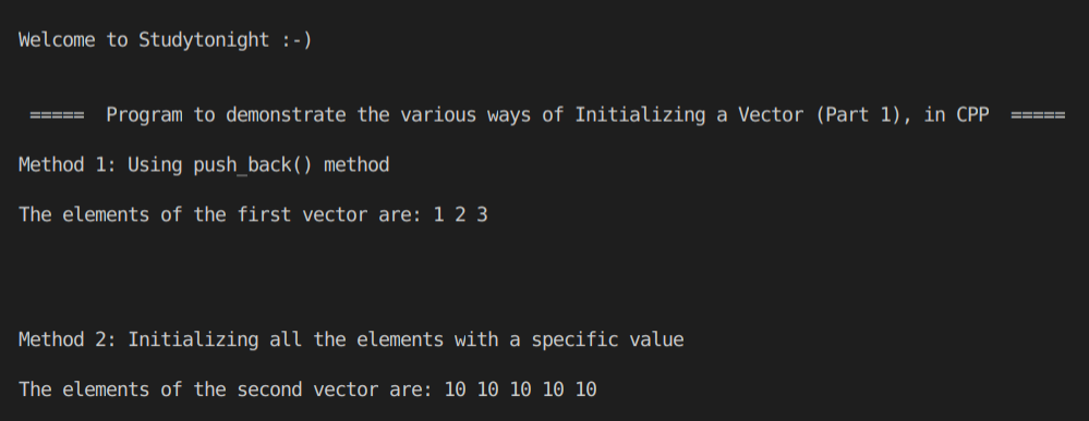 C++ Vector Initialization