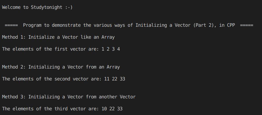 C++ Vector Initialization  part 2