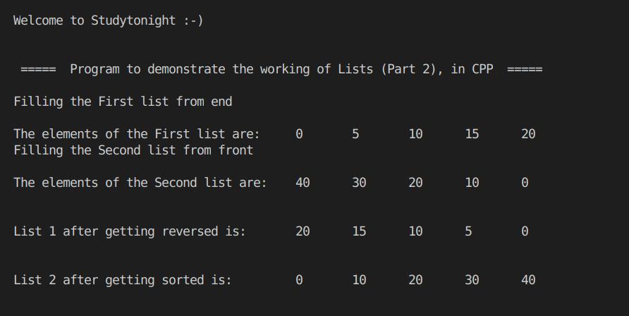 C++ Lists Part 2