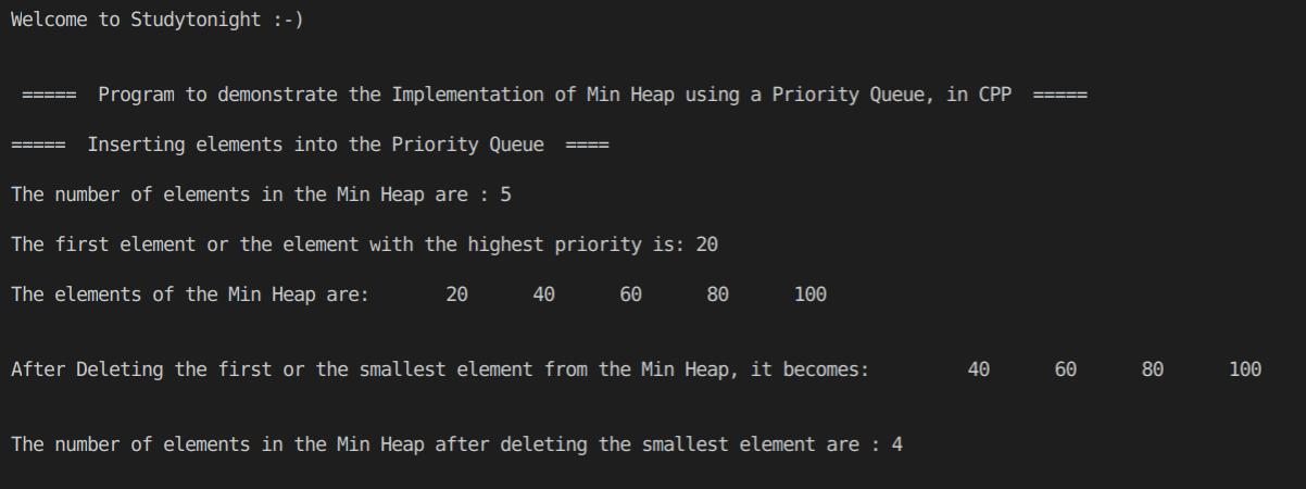 C++ Min Heap
