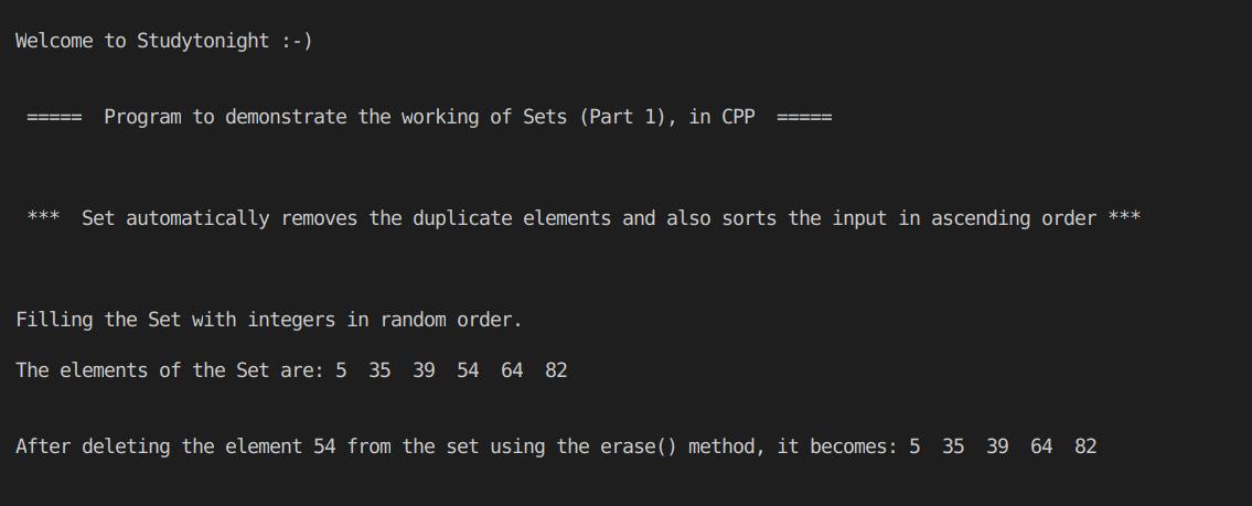 C++ Set Part 1