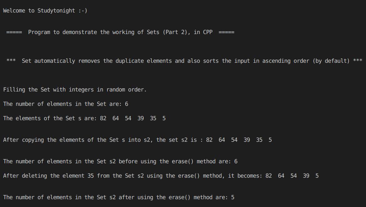 C++ Set Part 2
