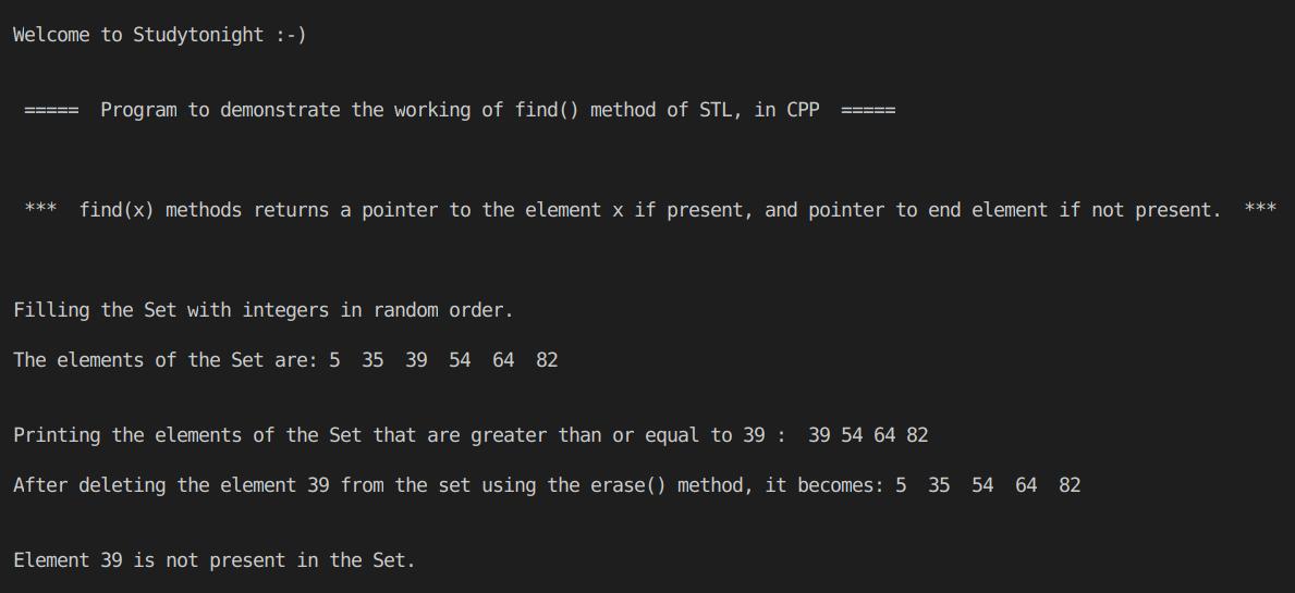 C++ find() method in set