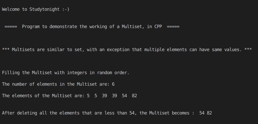 C++ multiset