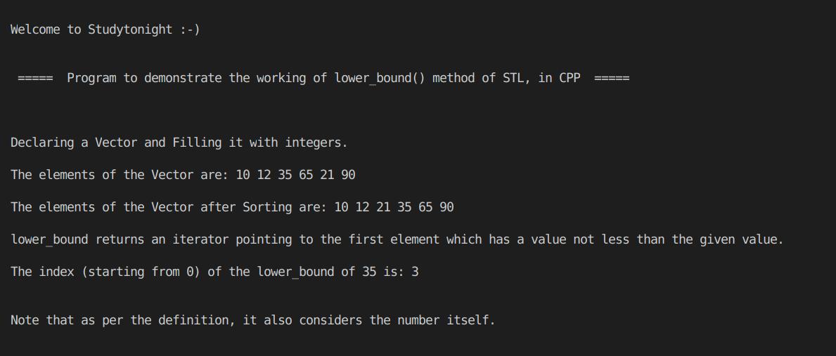 C++ lower bound