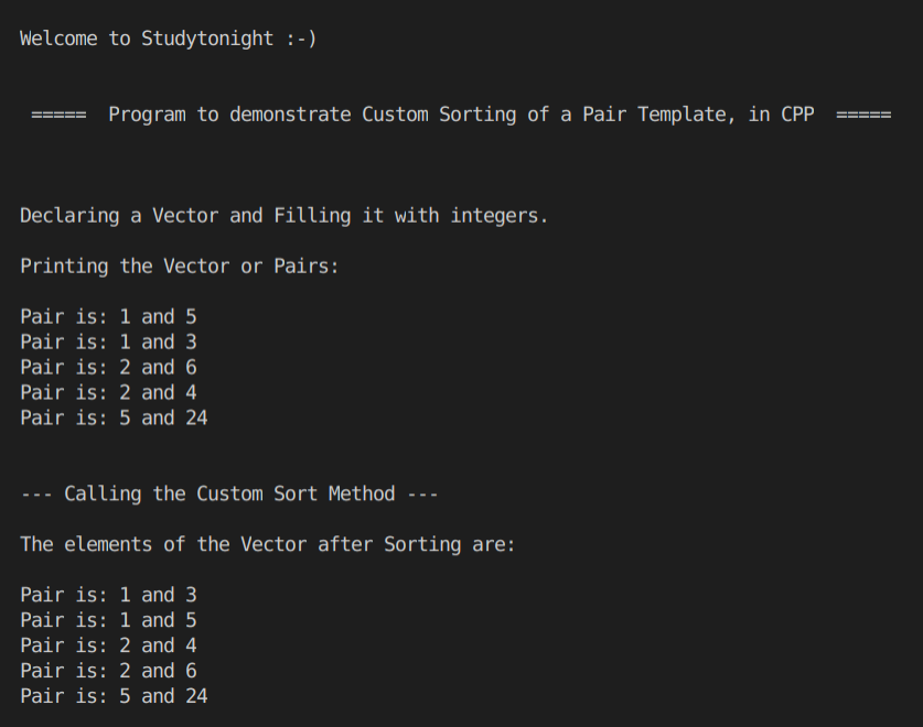 C++ pair template sorting