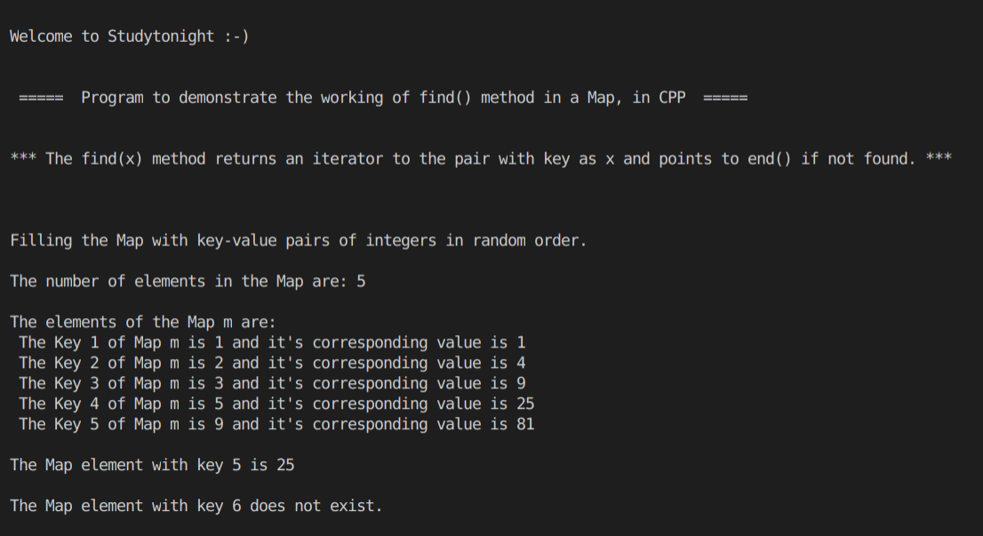 C++ find() map