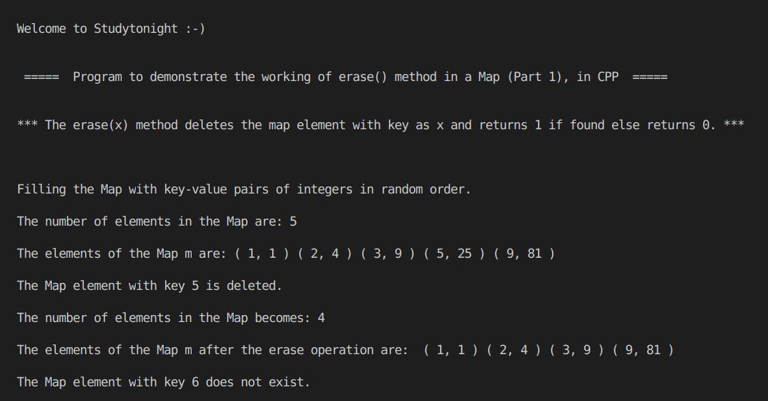 C++ erase() Map