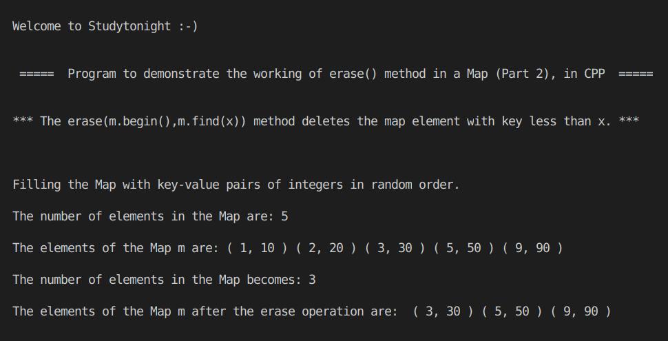 C++ erase() Map part 2