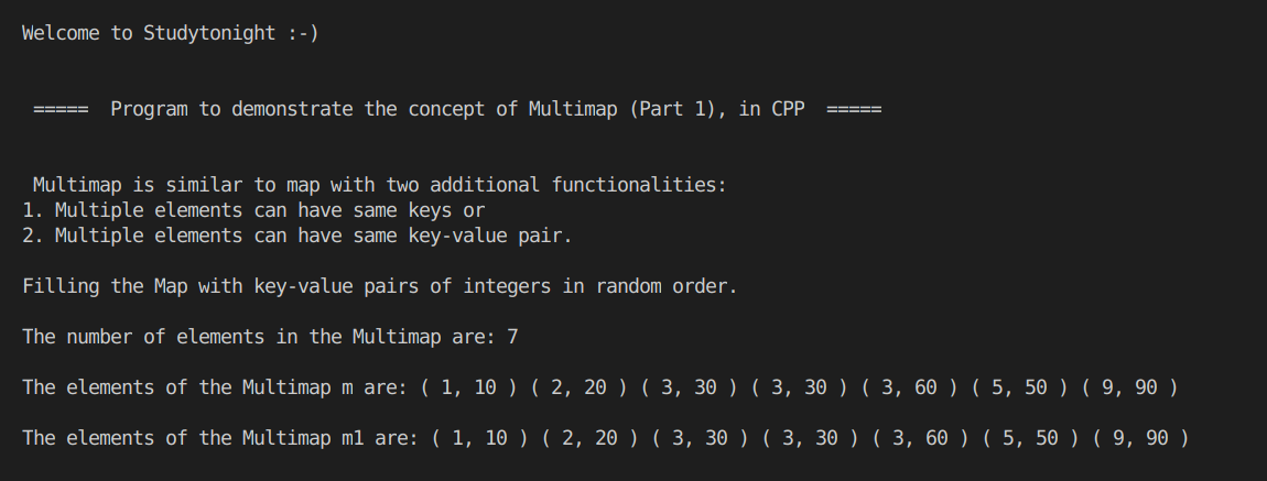 C++ Multimap program example