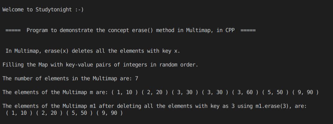 C++ erase() Multimap 1