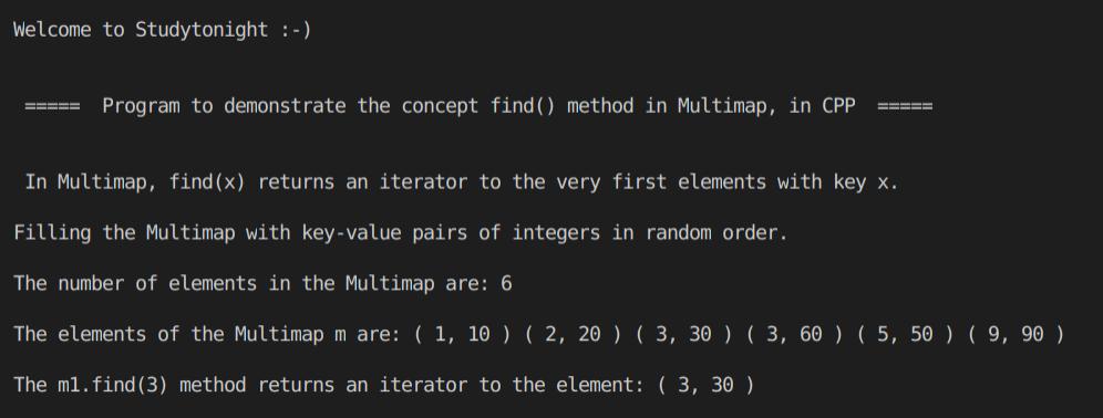 C++ find() MultiMap program