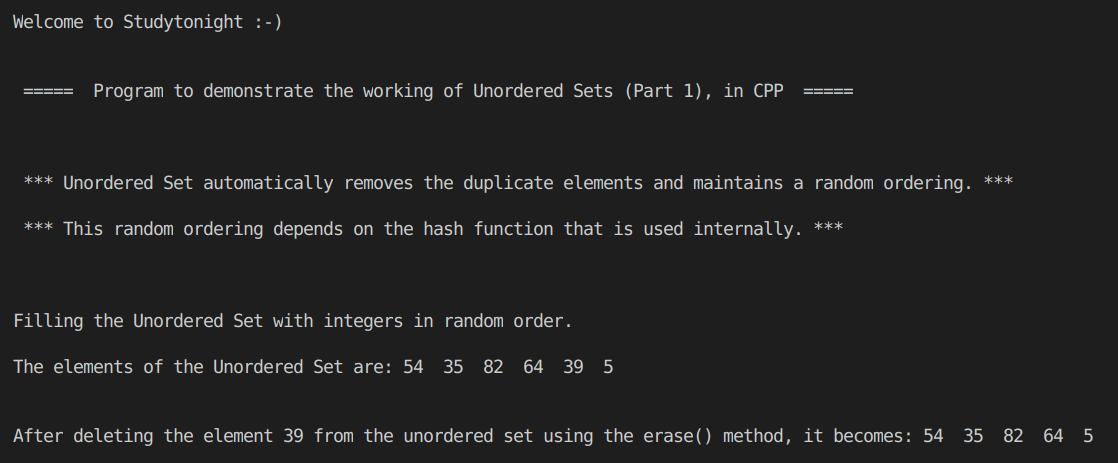 C++ Unordered Set Program