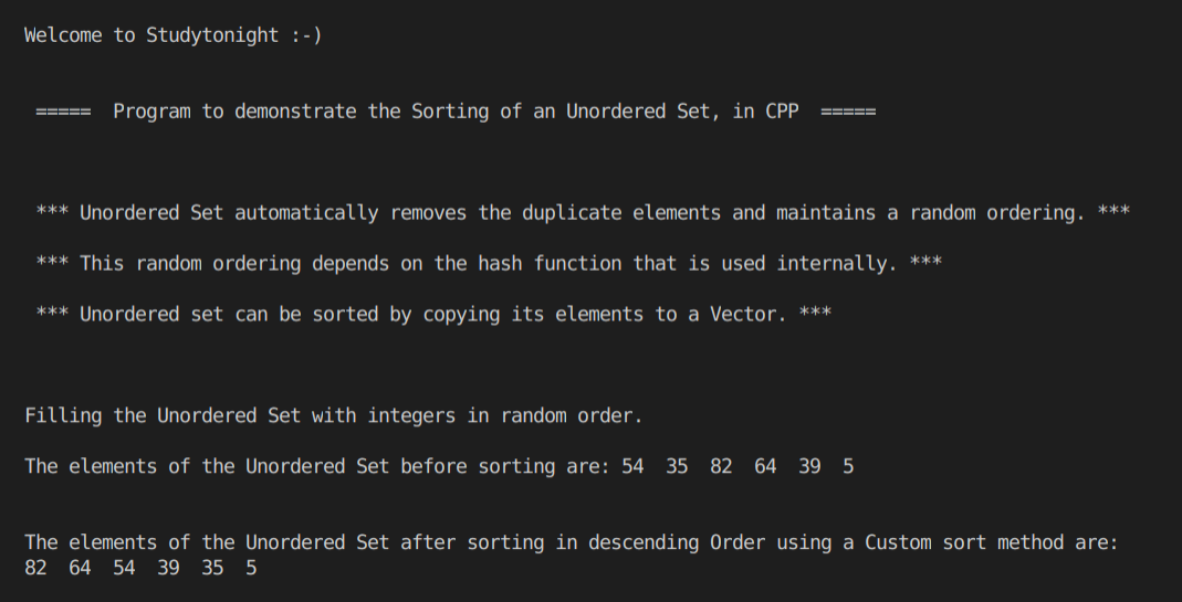 C++ sorting an Unordered Set