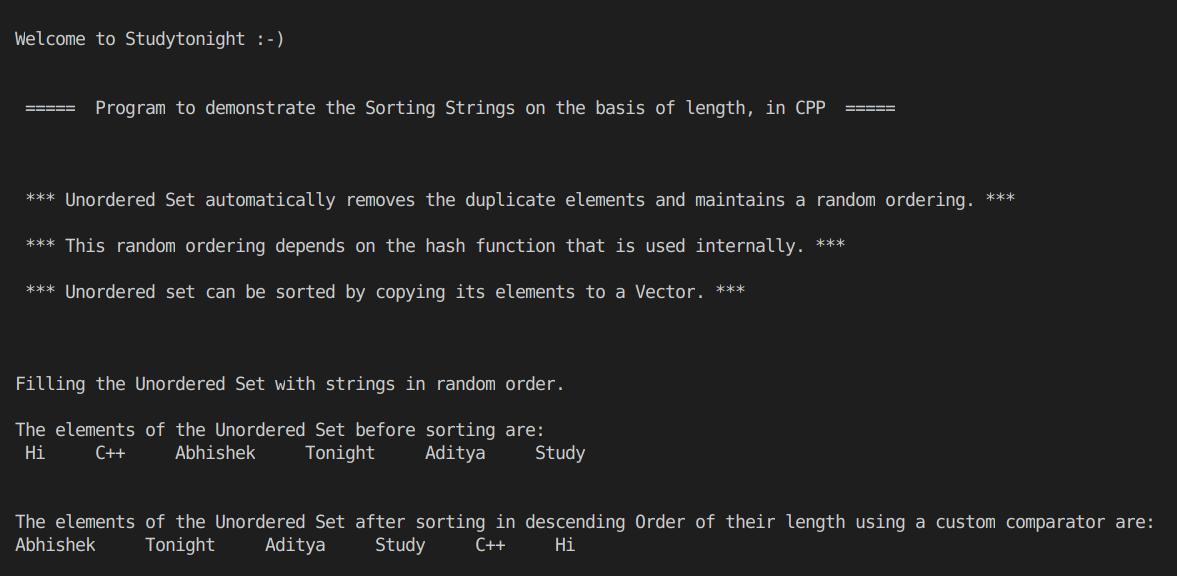 C++ Custom Sort in Unordered Set