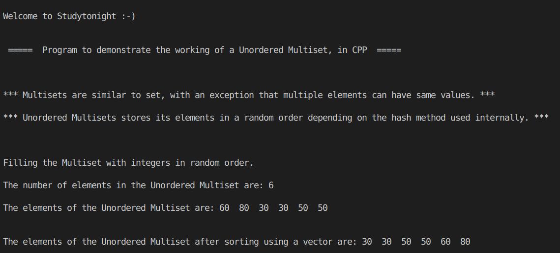 C++ unordered multiset