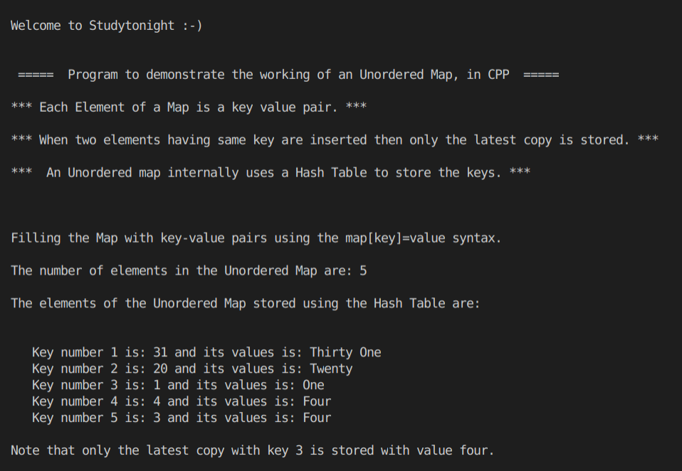 C++ Unordered Map program example