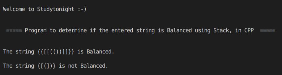 C++ balanced string using Stack