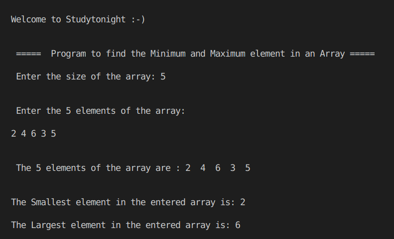 C++ Min and Max of array