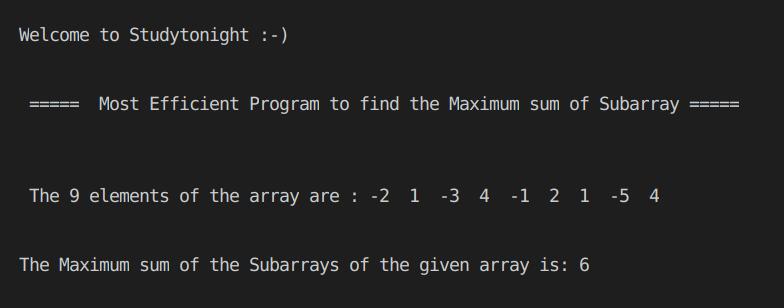 C++ Maximum sum of subarray