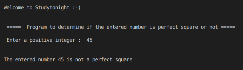 C++ perfect square program output