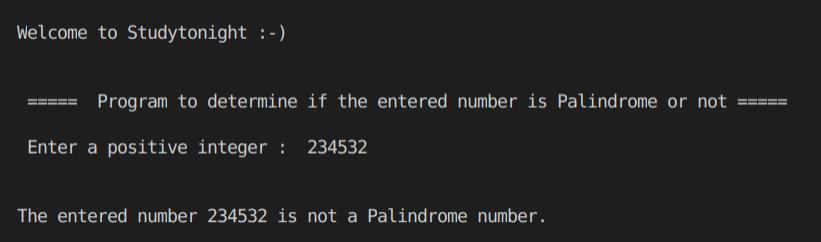 C++  palindrome program output 1