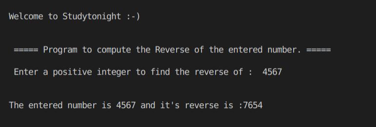 C++ number reverse program output