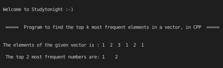 C++ top k most frequent
