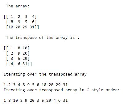 numpy array iteration example