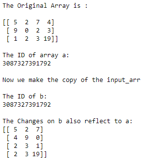 numpy no copy array example