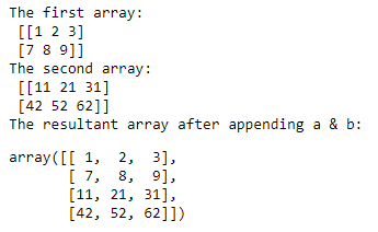 numpy append() function example