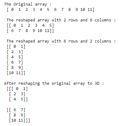 numpy reshape function example