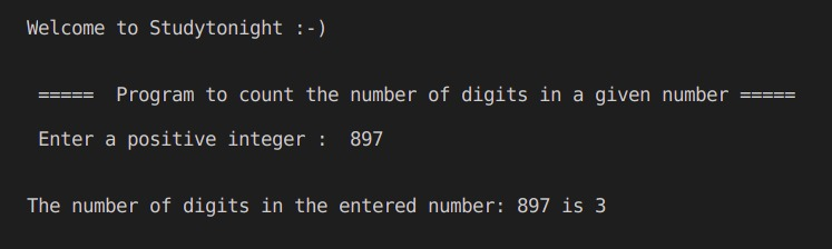 C++ count number of digits program output