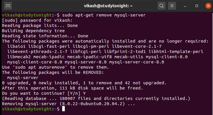 remove mysql from ubuntu