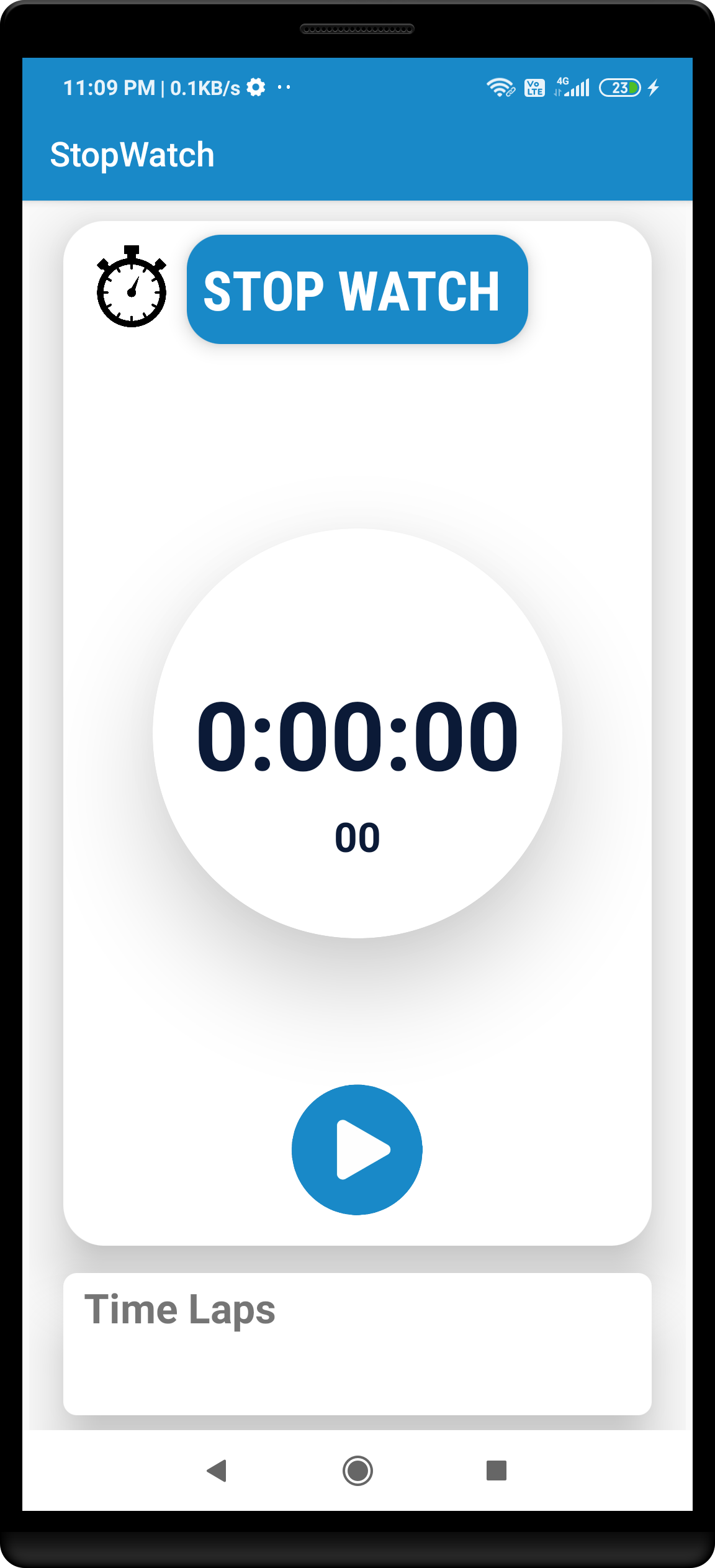 stopwatch android project for beginners