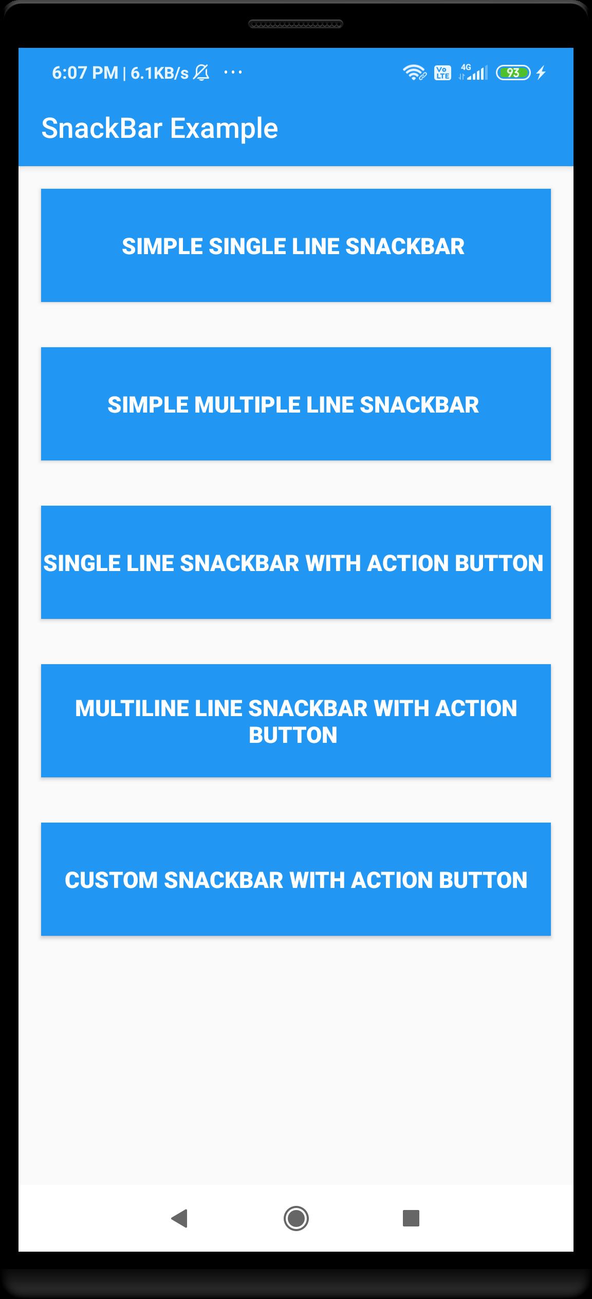 adding custom snackbar to android
