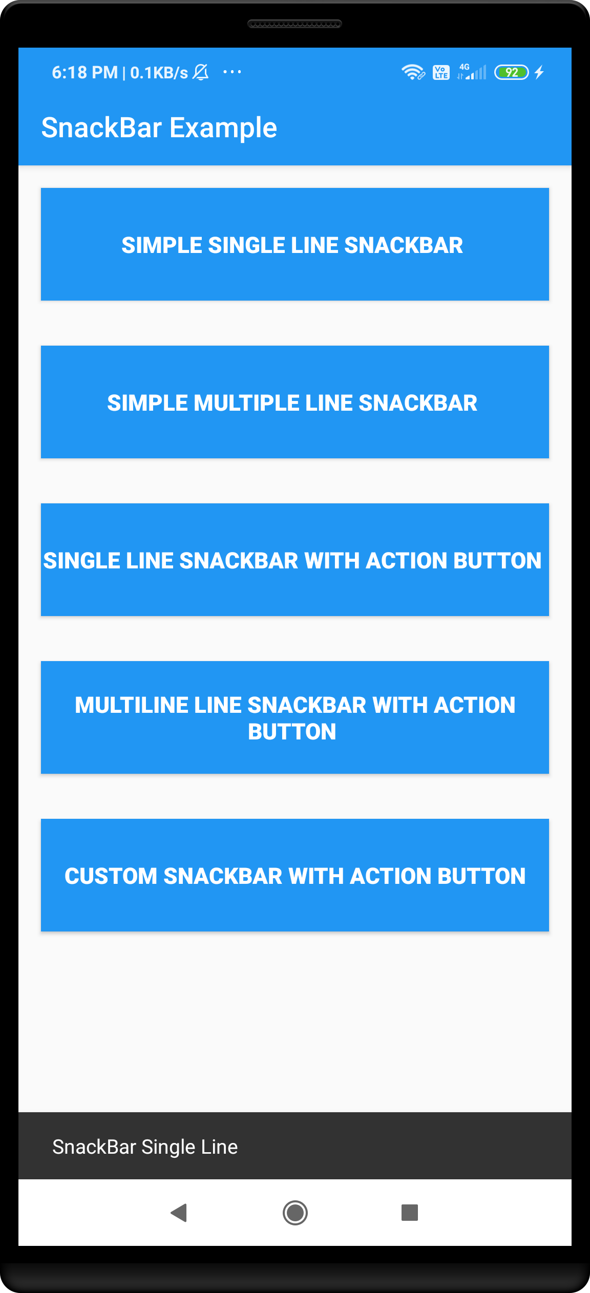 Android single line snackbar example